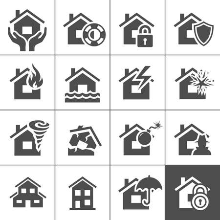 flood: Property  icon set  illustration  Illustration