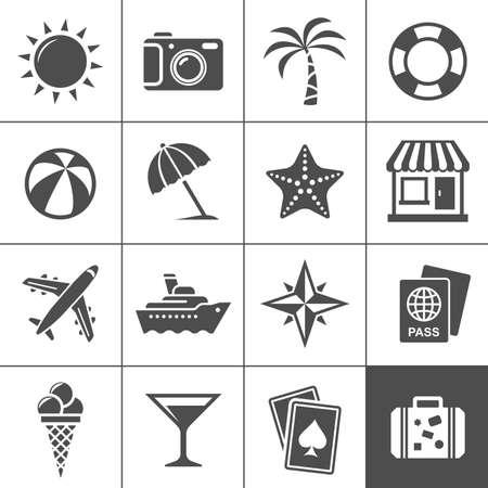 バケーション、旅行のアイコンを設定 Simplus シリーズの各アイコンが 1 つのオブジェクトの複合パス