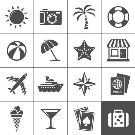 symbol tourism: Vacation and travel icon set  Simplus series  Each icon is a single object  compound path  Illustration
