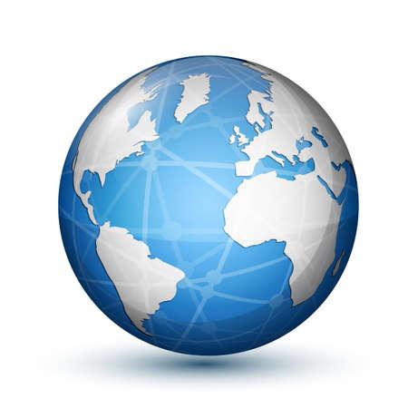 nuclear icon: Glossy globe icon  Global communication concept illustration Illustration