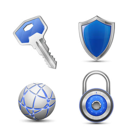 defense equipment: Security and protection symbols  Privacy and secrecy concept  illustrations Illustration