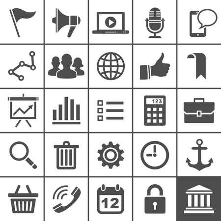Universal Icon Set 25 iconos universales para el sitio web y aplicación simplemente ilustración series Foto de archivo - 20069845