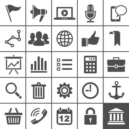 Universal Icon Set  25 universal icons for website and app  Simply series  illustration Stock Vector - 20069845