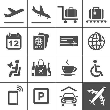 air travel: Aeroporto universale Aeroporto set di icone e viaggi in aereo icone Simplus serie Vector illustration Vettoriali