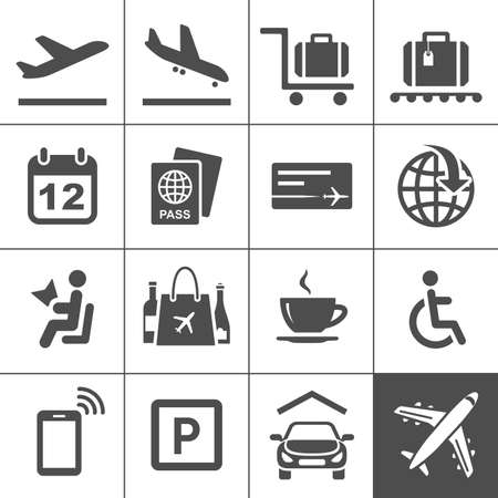 booking: Airport icon set  Universal airport and air travel icons  Simplus series  Vector illustration Illustration