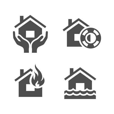 property insurance: El seguro de propiedad iconos serie Simplus