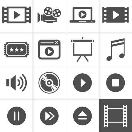 movie ticket: Video and cinema icon set  Simplus series  Each icon is a single object