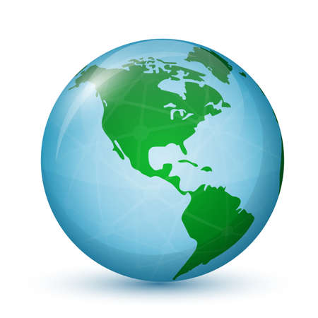 north america: North and South America  Globe map  Global communication concept  Vector illustration