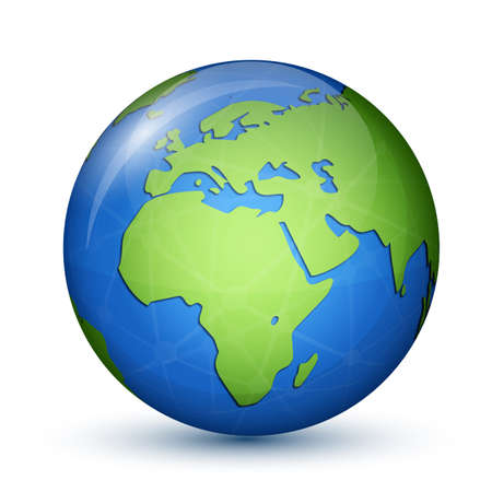 earth globe: World Globe Map - Africa and Europe  Global communication concept  Vector illustration