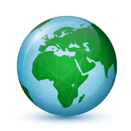 세계 세계지도 - 아프리카와 유럽 글로벌 통신 개념 벡터 일러스트 레이 션