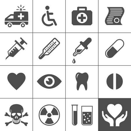 medical syringes: Icone di medicina e salute fissati Simplus serie Vector illustration