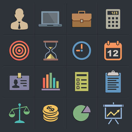 financial targets: Business Icons. Flat Metro Style Icon Set. Illustration