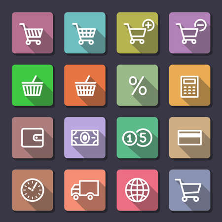 Shopping Icon Set. Flaticons series (metro style flat icons with long shadow) Vector