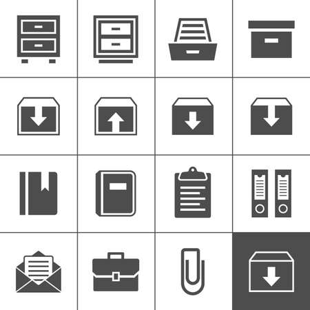 Archive icon set. Simplus series. Each icon is a single object (ideal for web and app icons) Illustration