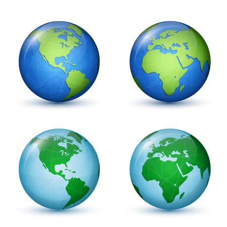 北と南アメリカ、アフリカおよびヨーロッパ。世界地図。  イラスト・ベクター素材
