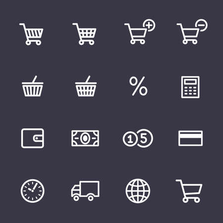 time account: Shopping Icon Set. Icons for online shop