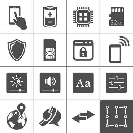 Paramètres du périphérique mobile icônes Banque d'images - 22136820