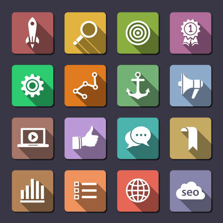 Search engine optimization, internet marketing icons. Flaticons series.  Vector