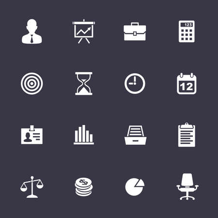 Business Icons. Clean vector icons on black Vector