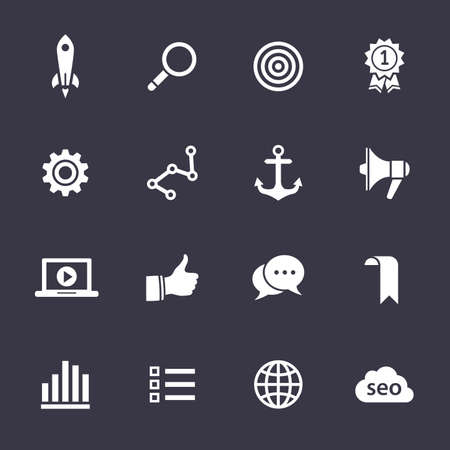 Search engine optimization, internet marketing icons. Clean vector icons on black Vector
