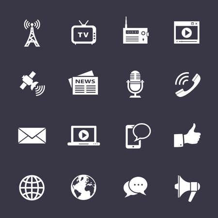 Media Icons. Schone vector pictogrammen op zwart Stock Illustratie