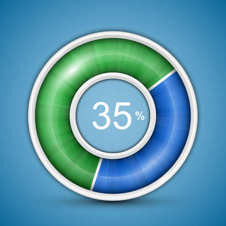Circular progress bar. Easy to edit and customize vector illustration of round progress bar on blue background with blue-green indicator. Vector