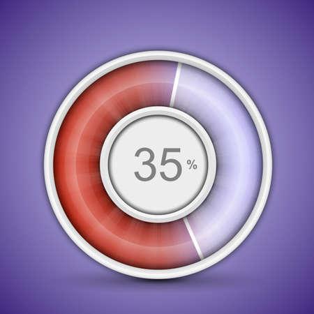 Radial or circular progress bar. Customizable vector illustration of radial progress bar on background with glossy indicator Vector