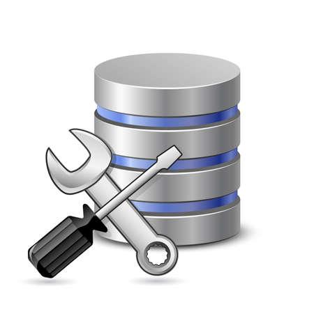 protected database: Optimizaci�n de base de datos y el concepto de configuraci�n. Ilustraci�n vectorial
