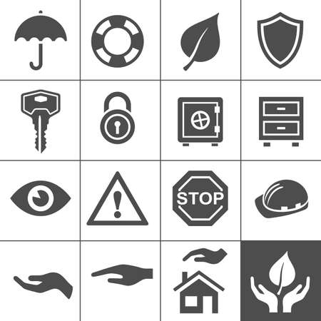 strong box: Protection icons. Simplus series. Vector Illustration