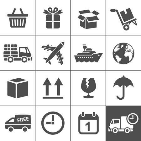 Logistic & delivery icons. Vector illustration. Simplus series Vector