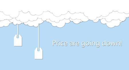 Price are going down! Price tags are going down from white clouds. Vector illustration Vector