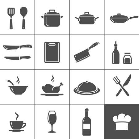 cooking: Restaurant kitchen and cooking icons. Simplus series. Vector illustration
