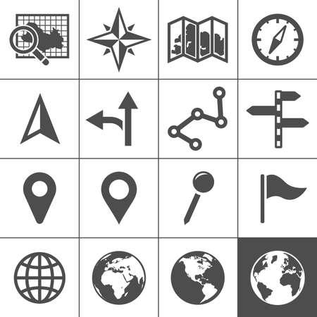 topografia: Cartograf�a y topograf�a conjunto de iconos. Mapas, posicionamiento y navegaci�n iconos. Ilustraci�n del vector. Serie Simplus