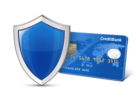 secure payment: Secure Payment. Credit card and shield. Vector illustration Illustration