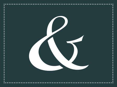 ampersand: Custom ampersand. Wedding invitation decoration element. Vector illustration