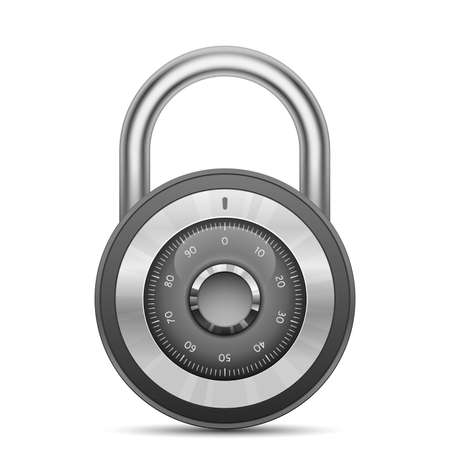 hardware store: Security combination lock. Vector illustration of padlock