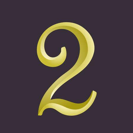 ligature: The number two. Custom digit 2. Vector illustration of number 2