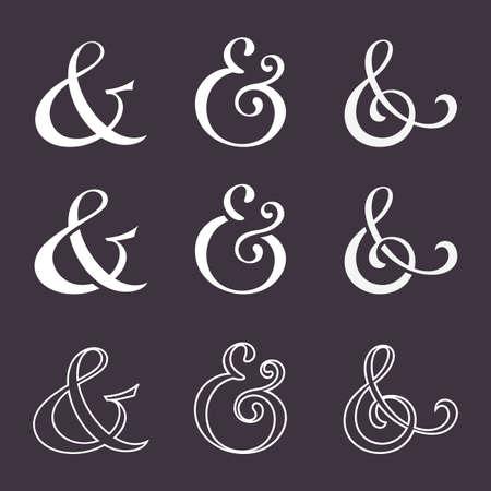 typography signature: Colecci�n de los s�mbolos de uni�n de decoraci�n personalizada para la invitaci�n de la prensa de copiar de la boda. Pulido a mano dibujado tipo. Ilustraci�n vectorial Vectores