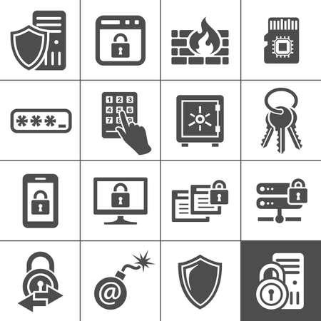 Beveiliging van de informatietechnologie iconen