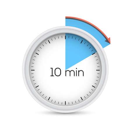 Ten minutes stopwatch timer. Illustration