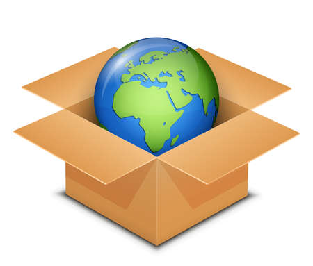 international shipping: International Shipping Concept. World in Cardboard box.