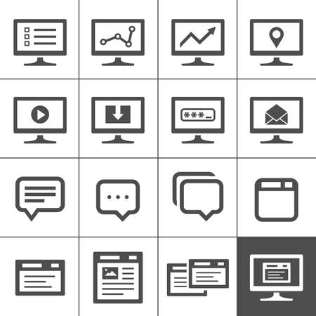 computer screen: Computer screen symbols and icons. Dialog and message boxes.