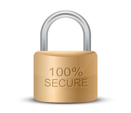 SSL Certificates Sign for website. Metallic padlock. 100% Secure.