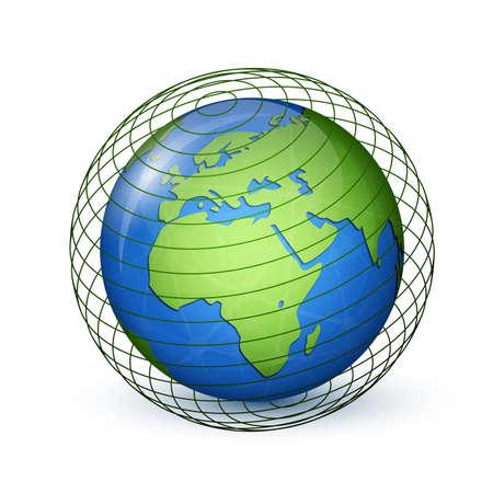 globális kommunikációs: World Globe térkép. Globális kommunikációs koncepció. Vektoros illusztráció