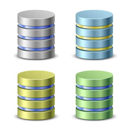 데이터베이스 아이콘. 네트워크 백업 아이콘 일러스트
