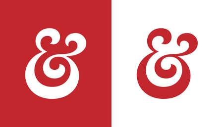 Custom ampersand. Hand drawn ampersand symbol for wedding invitation. Vector illustration Vector
