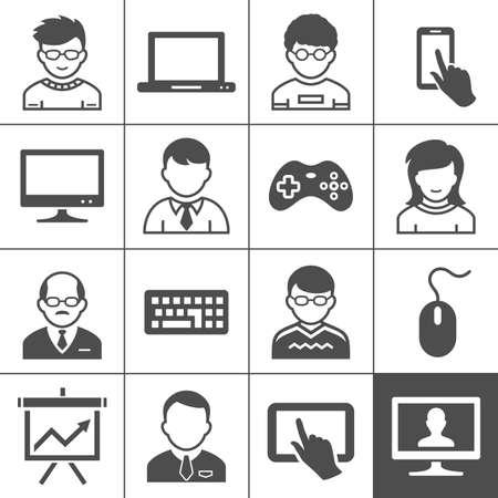 simplus: Dispositivos de usuario personal y los usuarios. Ilustraci�n del vector. Serie Simplus