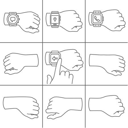 Collection of hands for smartwatch illustrations Vector
