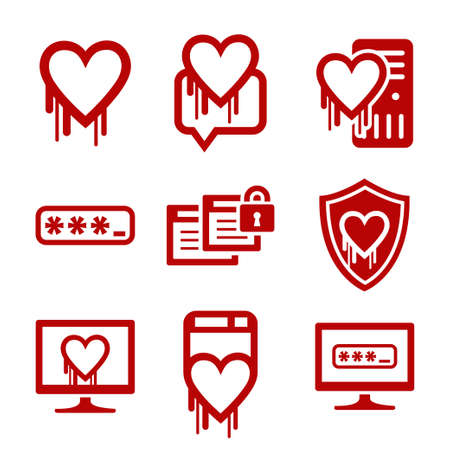 encoding: Information technology security icons. Heartbleed software bug icons Illustration