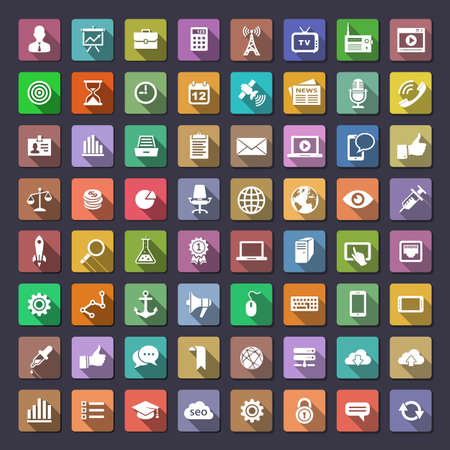 64 icons for web and app. Flaticons series (metro style flat icons with long shadow) Vector